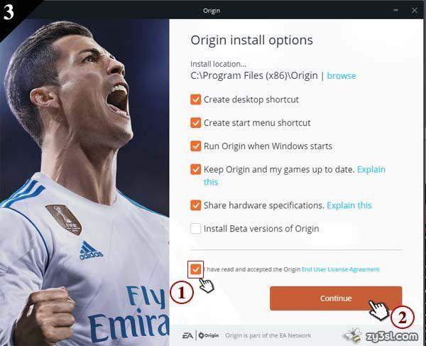 Origin install options